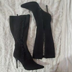 Baker suede black ruffled high heel boots